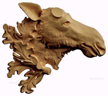 stl модель-барельеф  лось без рог