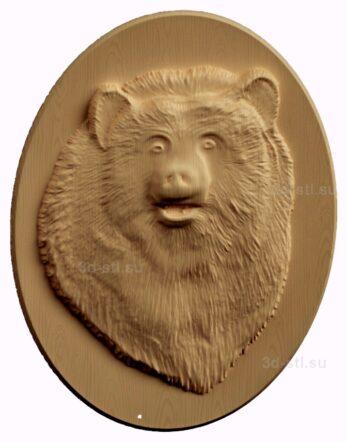 stl модель-барельеф  медведь