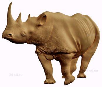 stl модель-барельеф  носорог