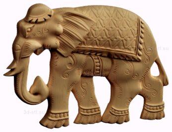 stl модель-барельеф  слон