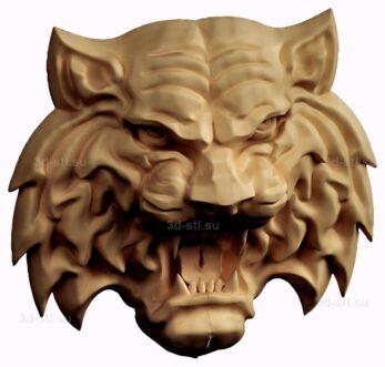 stl модель-барельеф  тигр
