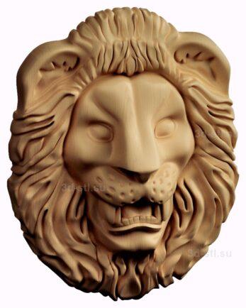 stl модель-барельеф  лев