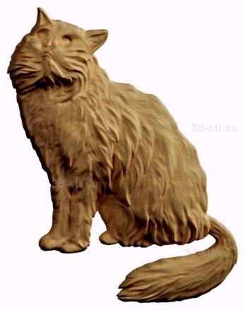 stl модель-барельеф  кошка