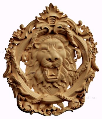 stl модель-картуш лев