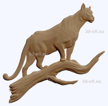 3d stl модель-пантера  барельеф с животными № 047