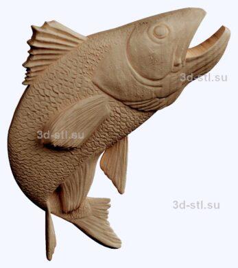 3d stl модель-судак    барельеф с животными № 049