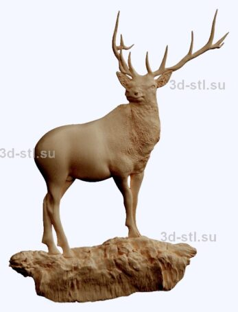 3d stl модель-олень   барельеф с животными № 050