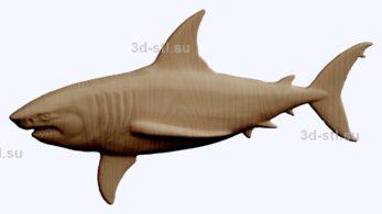 3d stl модель-акула    барельеф с животными № 051