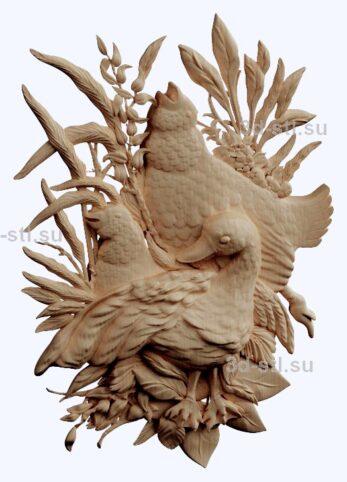 3d stl модель-птицы    барельеф с животными № 052