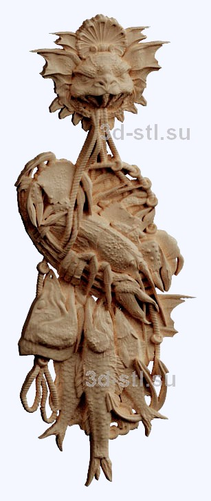 3d stl модель-рыбацкий улов    барельеф с животными № 054