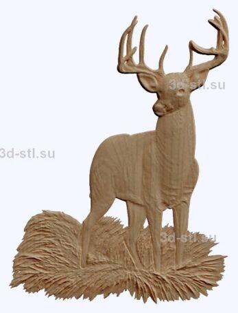3d stl модель-олень    барельеф с животными № 056
