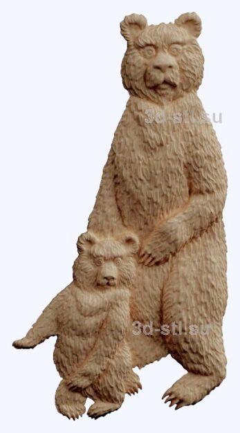 3d stl модель-медведица с медвеженком   барельеф с животными № 058