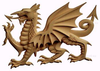 stl модель-барельеф  дракон