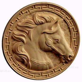 stl модель-Медальон с лошадью