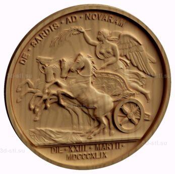 stl модель-Медальон  Афина на колестнице