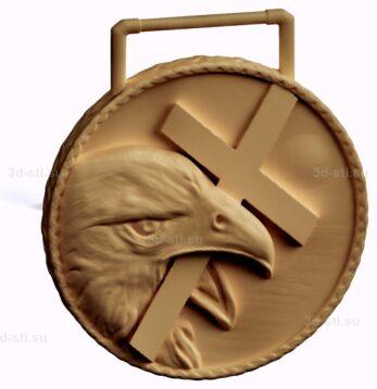 stl модель-Медаль Орел с крестом в клюве