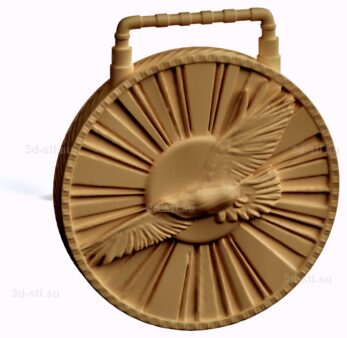 stl модель-Медаль Орел в лучах Солнца