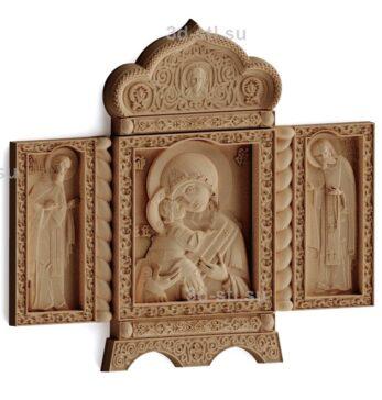 stl модель-Икона Божья Матерь СВ. Серафим и Сергий