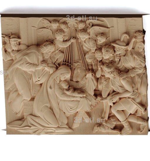 """stl модель-Икона Панно """"Рождение Христа"""""""