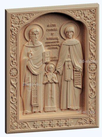 3d stl модель-икона Св. Рафаил Николай и Ирина v2
