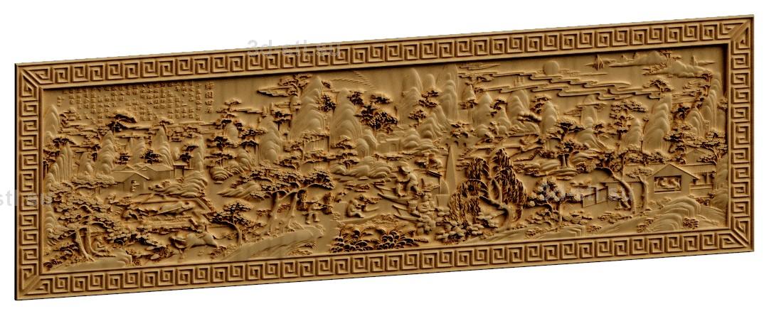 stl модель-Панно Древний Китай