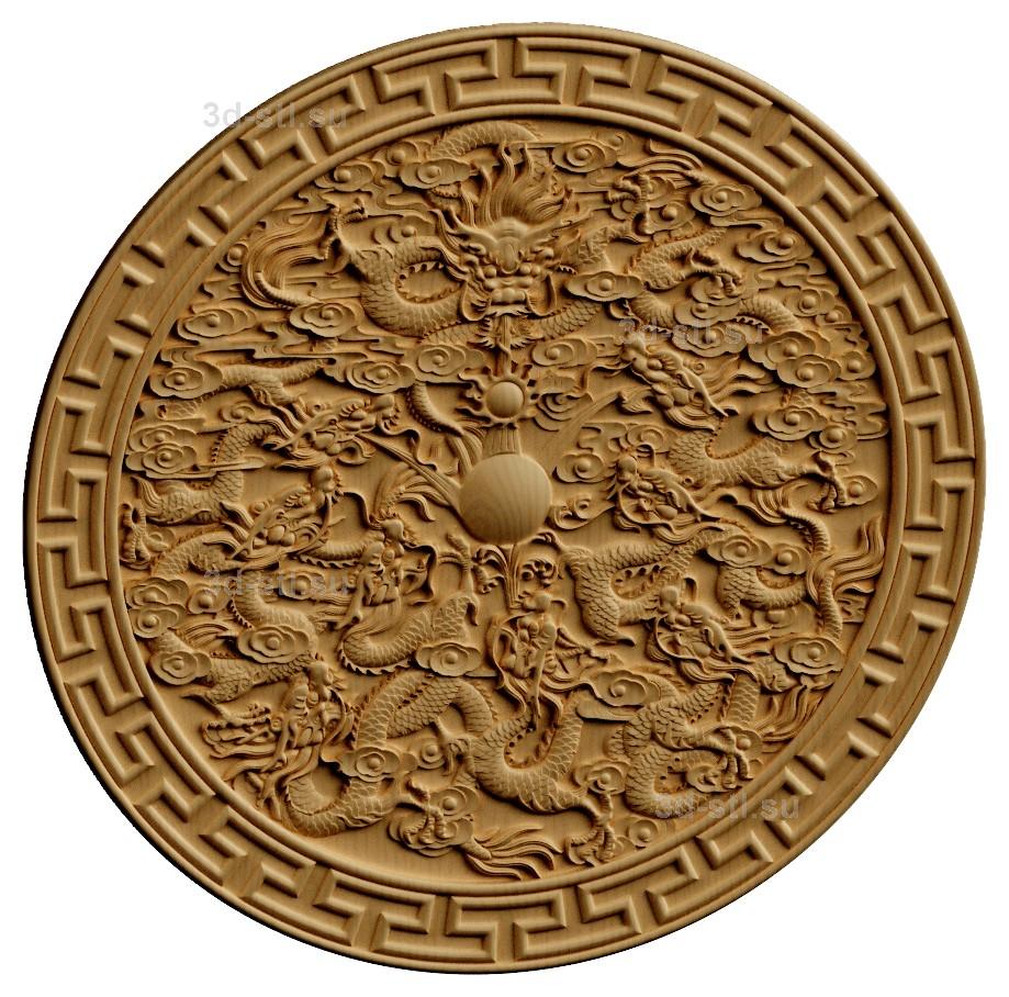 stl модель-Панно Китайские драконы