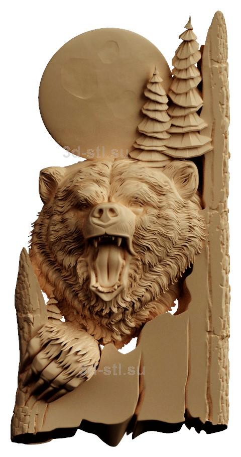 stl модель-Панно Медведь и луна