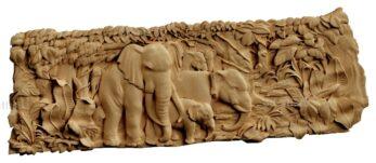 stl модель-Панно Слоны семья