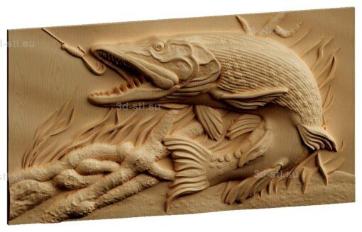 stl модель-Панно Рыба и крючек