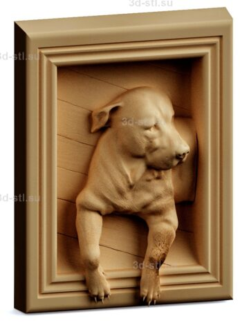 stl модель-Панно Собака