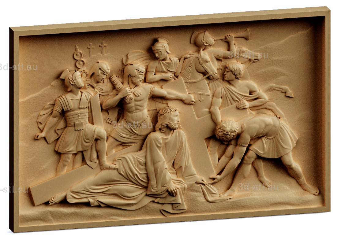 stl модель-Панно Распятие Христа