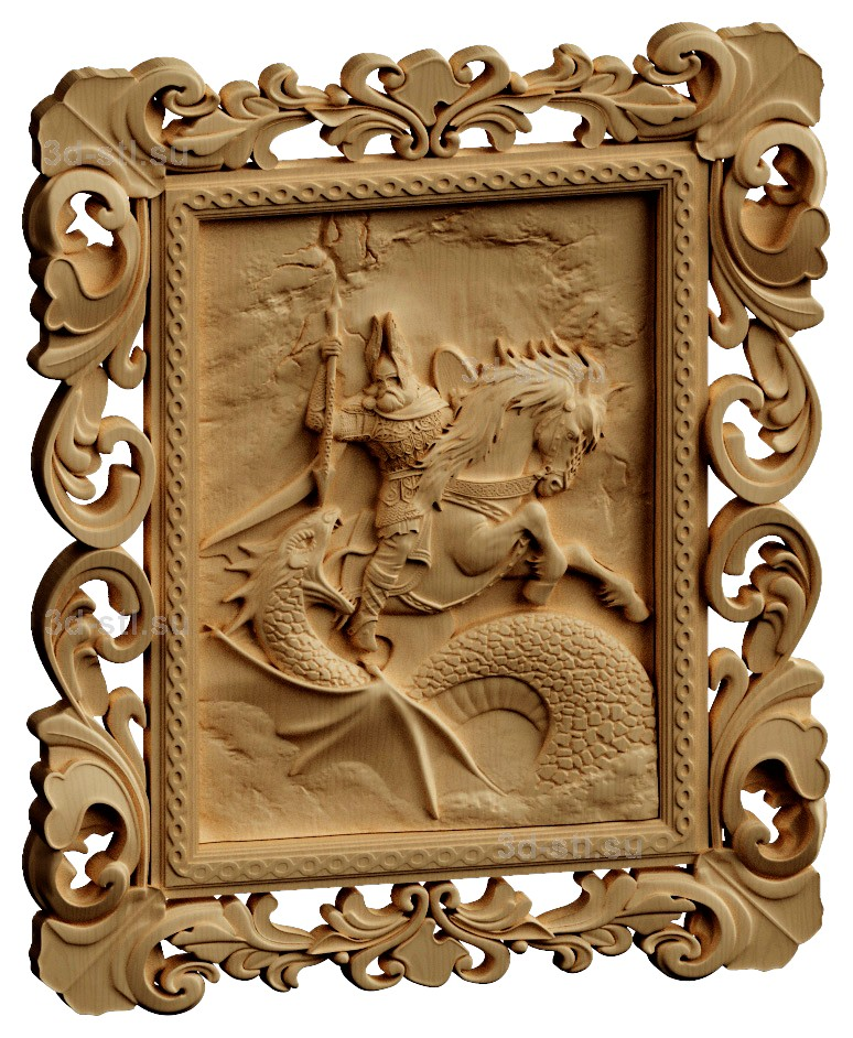 stl модель-Панно Битва Перуна и Велеса в обличие змеи