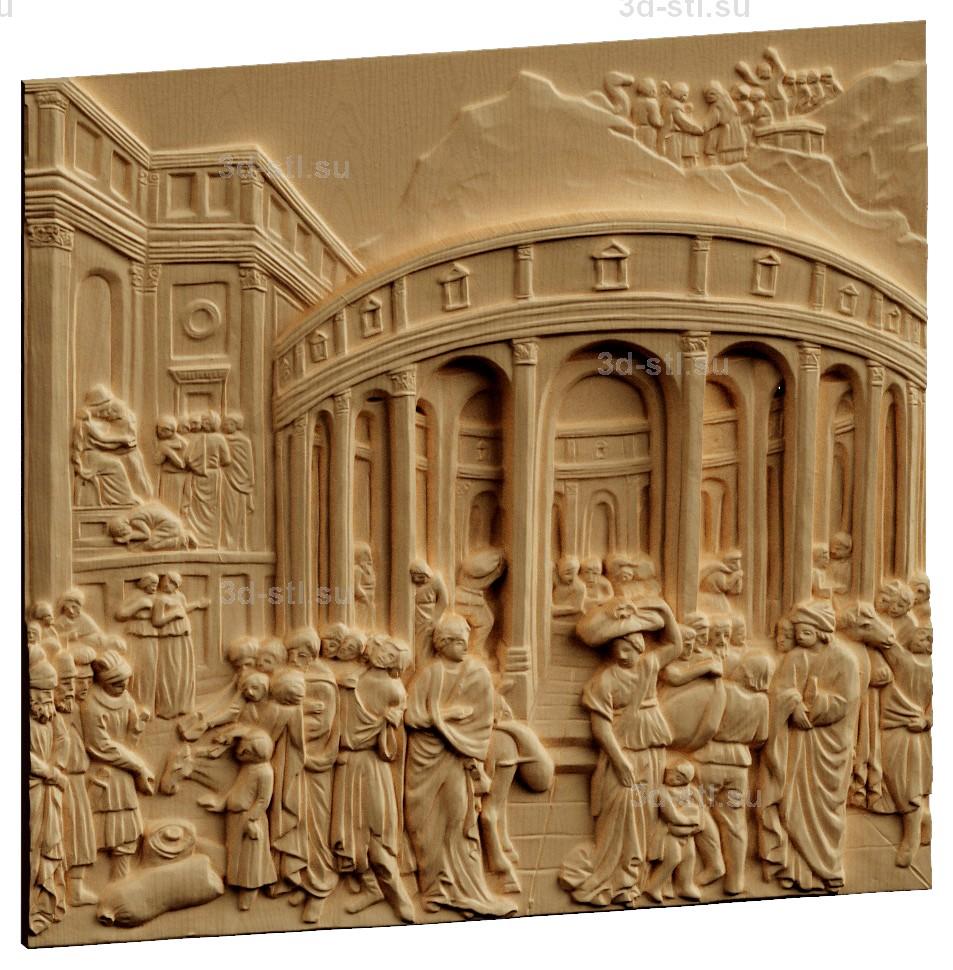stl модель-Панно Врата Рая-Лоренцо Гиберти Иосиф