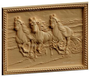 stl модель-Панно Лошадей тройка скачет