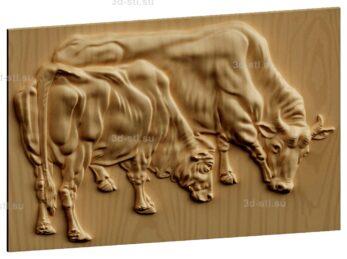 stl модель-Панно Корова с теленком пасется