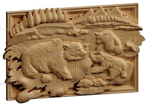 stl модель-Панно Медведица с медвежатами ловит рыбу