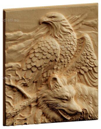 stl модель-Панно Волк и орел