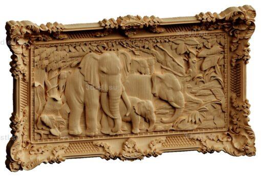 stl модель-Панно Слоны семейство в джунглях