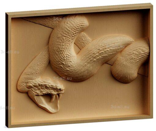 stl модель-Панно Змея скалится