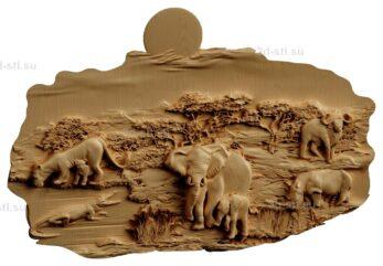 stl модель-Панно Природа и жители Африки(Слон и слоненок, львица и львенок, крокодил,буйвол)