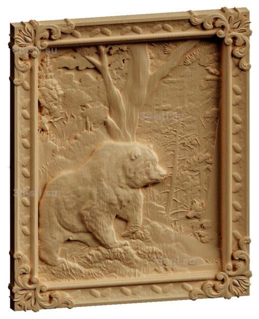stl модель-Панно Медведь и волк