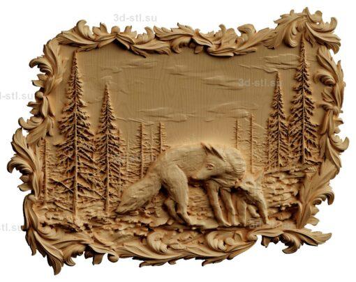 stl модель-Панно Волчица с волченком