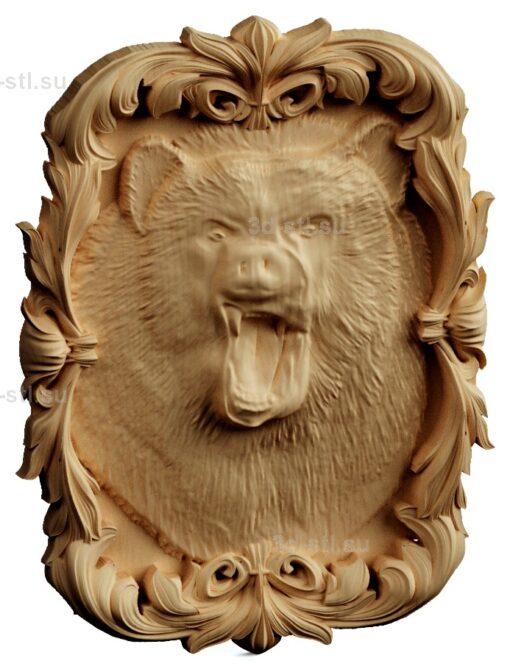 stl модель-Панно медведь злой