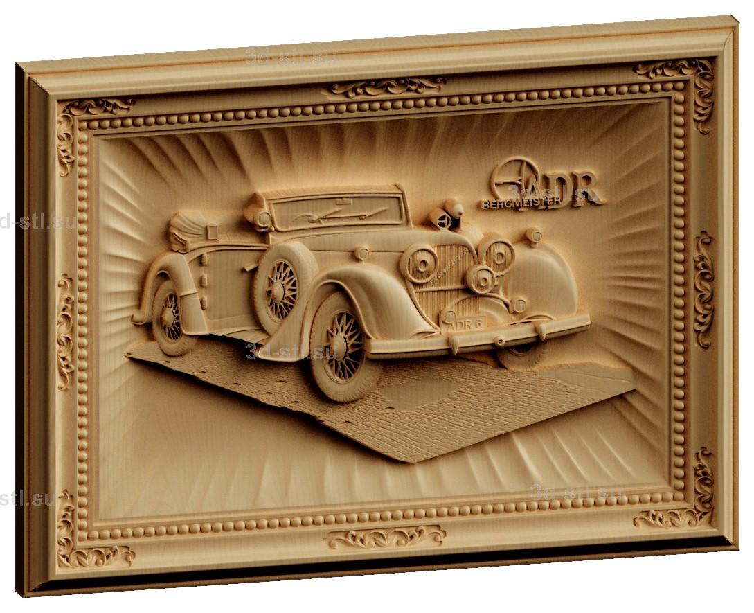 stl модель-Панно Ретро автомобиль
