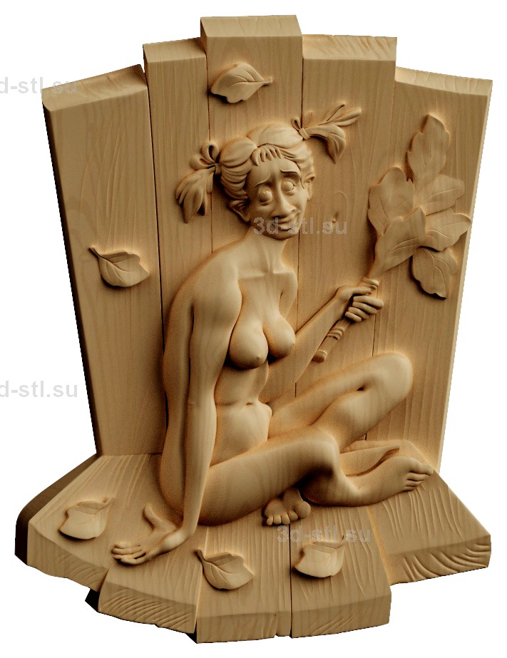 stl модель-Панно Девица в бане
