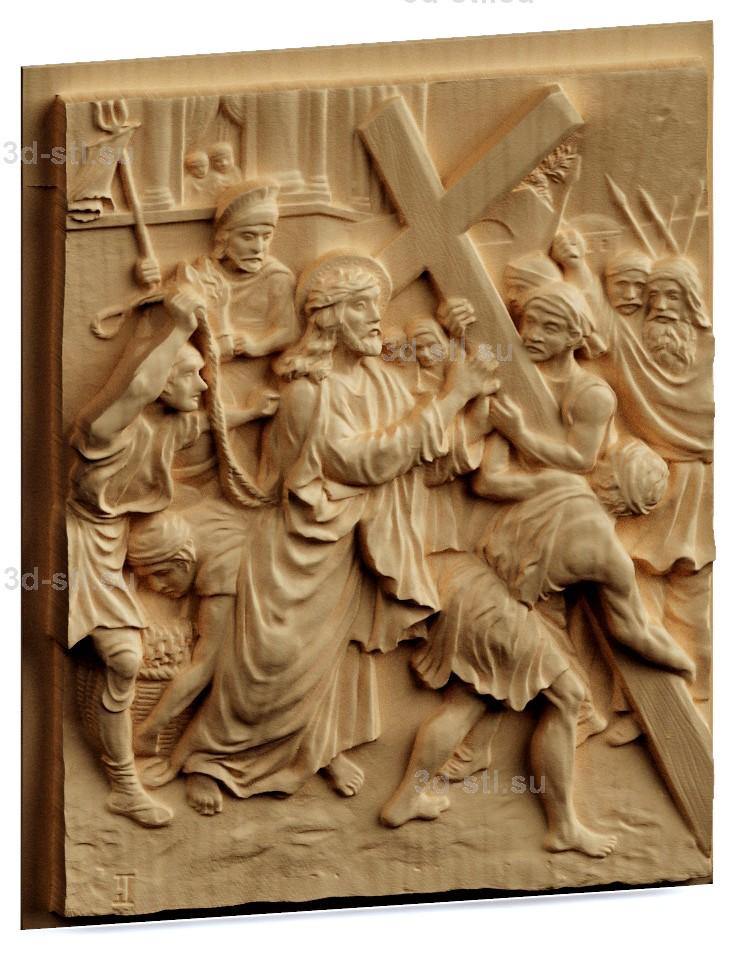 stl модель-Панно Казнь Иисуса Христа