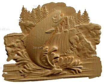 stl модель-Панно рыба на фоне природы