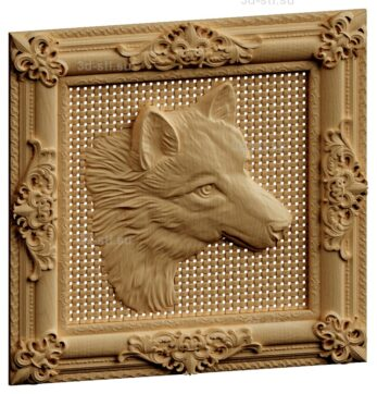 stl модель-Панно Волк