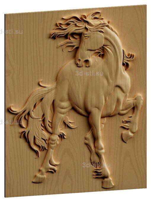 stl модель-Панно конь