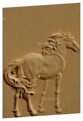 stl модель-Панно Лошадь с сади